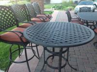 "42"" black cast aluminum bar height outdoor patio table"
