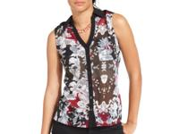 A floral and striped pattern makes this Bar III blouse