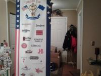 Large 7 foot in height cloth liquor/alcohol banners.