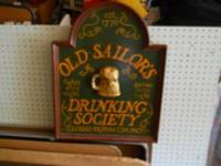 "Old Sailors Classic Bar Sign. 24"" x 18"" Mahogany wood"