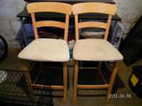 wooden padded seat, needs spot cleaned, $10 each... //