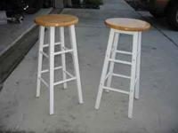 Set of 2 bar stools. White legs with wood seats, 30""