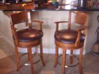 SET OF TWO BAR STOOLS WOODEN WITH LEATHER SEATS HARDLY