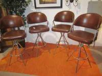 Nice sturdy bar stools, a set of four! Dark brown with