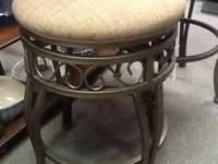 "24"" steel bar stool with cushioned swivel seat $45. 28"""