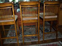 Bar Stools 3 hardwood all solid wood no breaks or