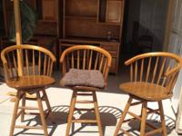 Three oak bar stools$75 Perfect condition  Oak Kitchen