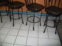 BAR STOOLS(4) WITH BACK REST ALL METAL SWIVEL 360 BRAND