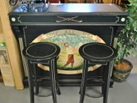Golf All USA Country Club bar, solid wood with 2 stools