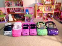 Six Barbie cars, gently used condition, one is a Moxie