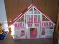 Three section Barbie Dream House, motor home, jeep,
