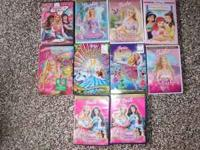 10 different Barbie DVD's all in good condition with