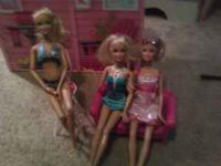 Complete Barbie House with 3 Barbie Dolls and extras to