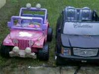 Pink Barbie Jeep with battery. The speed/reverse
