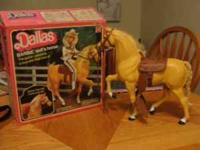 Two vintage Barbie horses: Dallas and Midnight are