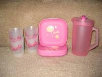 brand new Tupperware Barbie mini cup & plate set,