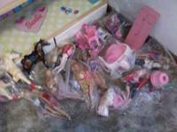 All wood Barbie house, dolls, and furniture for sale