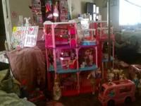 Barbie, 3story house, car, horse, camper, 30 Barbie