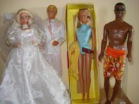 Mid-80's bridal Barbie & Ken; Malibu Barbie & Steven;