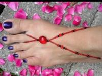 Crocheted and beaded barefoot sandals...$3-$10..