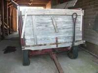 Old, antique, barge box, corn wagon with running gear