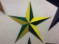 Locally made barn stars made from 24 gauge paint grip