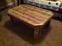 "Hand crafted barn wood table. 30"" wide x 40"" long by"