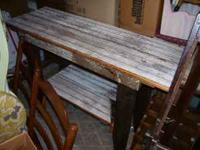 "selling a barn wood table. 48""W 17""D 331/2"" tall. table"