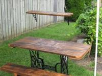 Custom reclaimed wood furniture. Wood curfs have been