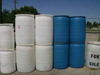 Plastic barrels, Closed top, 35 Gal, and 55 Gal. two