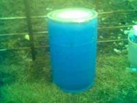 Blue Plastic Feed/Storage /water Barrels W/Lids $20.00,