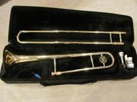 BARRINGTON TROMBONE WITH CASE IN GOOD USED CONDITION,