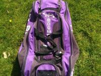 Boombah Beast Purple baseball bag with wheels and