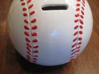 "Baseball Bank - Brand New - just over 4"" high & round -"