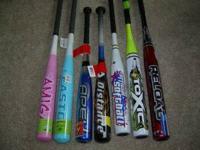 7 Different baseball bats from $10.00-$20.00 an Easton