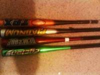 I have three used bats for sale. First a green 29 in.