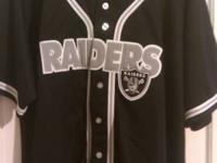 FOR SALE IS A NEW BASEBALL RAIDERS JERSEY. IT A LARGE,