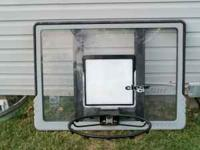 Clear basket ball back board and hoop.Great shape with