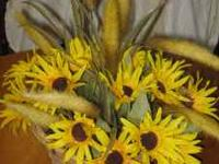 Yellow flowers in basket. Beautiful centerpiece. Will