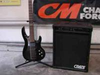 ESP 5string, electronic pickup, and a 300 watt crate