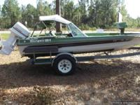This is an 8 foot Sun Dolphin Sportsman Bass Boat. High
