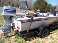 Nice, 1984 Ozark V 162 bass boat, 75 hp Evinrude with