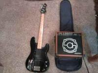 mako traditionals bass guitar with amp and case, 150