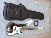 The Bass Guitar is an Affinity series Squire by Fender.