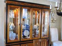 Bassett Glass and Mirror Wood china cabinet. Top