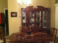 China Cabinet, Table with leaf, and six chairs - chair