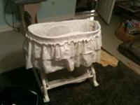 White Bassinet for sale. Good condition, clean. The