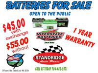Batteries For Sale 45.00 with Exchange 55.00 without.1