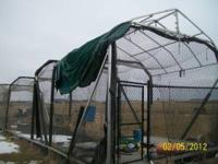 14'x60' aluminum batting cage with iron mike pitching