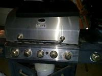 Large backyard BBQ grill, with four grill burners, 1